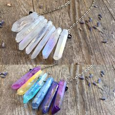 Back in stock for the holidays! Aura quartz crystal necklaces!