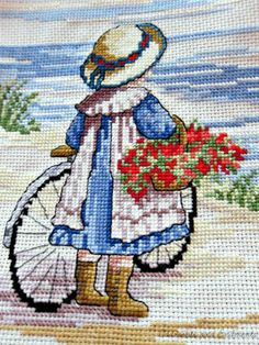 The auction for this adorable finished cross stitch ends in 3 HOURS! No Bidders! It could be yours for $4 + shipping. You couldn't even buy the supplies and chart for that amount!  All Our Yesterdays Girl with Bicycle Cross Stitch Faye Whittaker | eBay