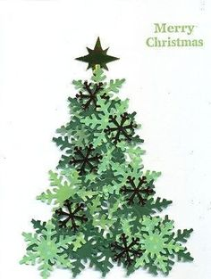 Paper Christmas tree made with snowflake punch and different shades of green paper. – from Cards and Paper Crafts at Splitcoaststampers – Desirees Tree by scootsv – Paper Christmas tree… Beautiful Christmas Cards, Diy Christmas Cards, Christmas Scrapbook, Noel Christmas, Paper Christmas Trees, Xmas Cards Handmade, Handmade Christmas Tree, Vintage Christmas, Christmas Card Making