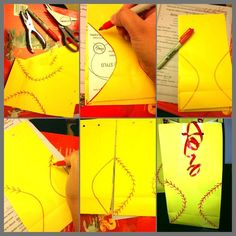 All you need is : red sharpie -Yellow paper candy bags (party city? Very simple just draw on the two sides of the softball and the cross stitch. Then to finish it off with some curling ribbon on top. Softball Birthday Parties, Softball Party, Softball Crafts, Girls Softball, Softball Players, Baseball Mom, Baseball Bags, Softball Stuff, Softball Decorations