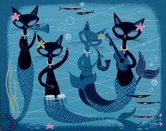 EL GATO GOMEZ PAINTING RETRO 1950S KITSCHY HAWAII HULA GIRL UKELELE MERMAID CAT in Paintings | eBay