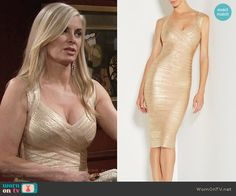 Ashley's gold knee-length bandage dress on The Young and the Restless.  Outfit Details: https://wornontv.net/69665/ #TheYoungandtheRestless