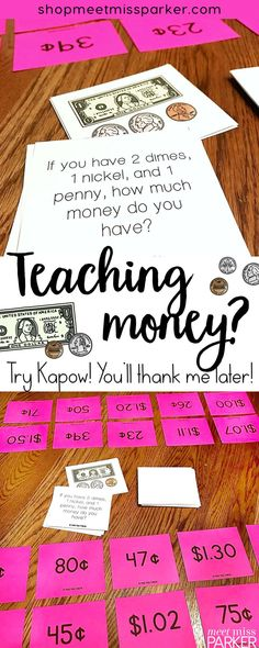 This Kapow money math game makes for the perfect math center or guided math activity! Your first grade, 2nd grade, and special education students will love learning about money while meeting the Common Core. Engage your 1st grade and second grade students in a differentiated math activity they will love to play and you will love teaching! Includes counting dollar bills and cents, as well as money word problems!