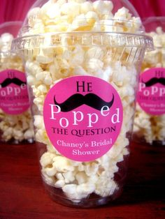 Bridal shower ideas...minus the stupid mustache! & make it caramel corn. YUM