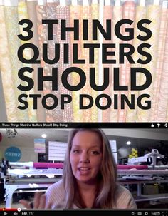 Do you quilt or sew? 3 things you should STOP DOING! Great advice! xx