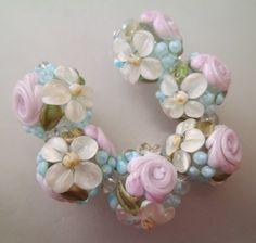 BLISS Ethereal Rose Floral Abundance Lampwork Bead Set   blissfulgardenbeads - Jewelry on ArtFire