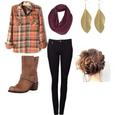 A fashion look from October 2012 featuring long sleeve shirts, black jeans and motorcycle boots. Browse and shop related looks.