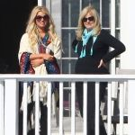 Jessica Simpson wearing Tom Ford Alicia Angled Round Sunglasses in Violet Havana.