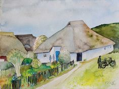 Frühling am Pfarrwitwenhaus (c) Frank Koebsch Baltic Sea, Westerns, The Good Place, Places, Painting, Art Tutorials, Watercolors, Watercolor Painting, Homes