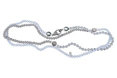 Glass, Crystal, and Diamond Clasp Knotted Necklace — S. Carter Designs