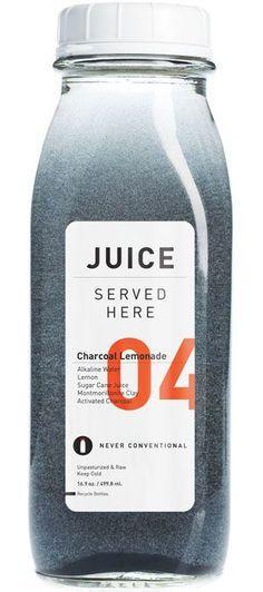 Juiced Served Here: Charcoal Lemonade, Alkaline water, raw sugar cane juice lemon, montmorillonite clay, activated charcoal. Juice Packaging, Cool Packaging, Beverage Packaging, Coffee Packaging, Bottle Packaging, Brand Packaging, Chocolate Packaging, Design Package, Label Design