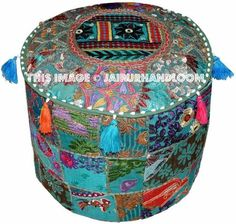 Usage - Floor Pillow / Ottoman / Pouf / Footstool etc. New multicolored Hand-crafted Ottoman cover or pouf cover or stool cover.These are authentic styles Beautiful ottoman studded with Heavy Embroidery. Pouf Ottoman, Ottoman Cover, Upholstered Ottoman, Ottoman Decor, Ikea Pouf, Large Round Ottoman, Diy Bean Bag, Bean Bags, Large Floor Cushions