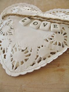 Several layers of paper doilies filled and stiched
