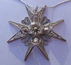 Large Sterling Silver Filigree Maltese Cross Necklace, 16""
