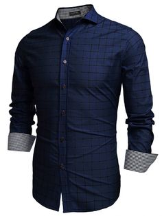 COOFANDY Men Fashion Turn Down Collar Long Sleeve Plaid Cotton Button Down Casual Shirts