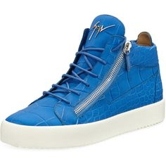 Giuseppe Zanotti Men's Crocodile-Embossed Leather Mid-Top Sneaker ($795) ❤ liked on Polyvore featuring men's fashion, men's shoes, men's sneakers, black, giuseppe zanotti mens sneakers, crocs mens shoes, mens lace up shoes, mens shoes and mens crocodile shoes