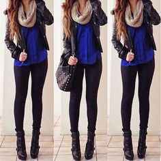 #teenclothes Super cute black pants with a blue top, a black leather jacket and boots, a light brown scarf and a black purse