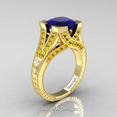 Classic 14K Yellow Gold 3.0 Ct Princess Blue and Yellow Sapphire Engraved Engagement Ring R367P-14KYGYSBS by  George K Designs