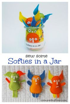 Free DIY cute little felt monster soft toys to sew with your kids. Sewing For Kids, Diy For Kids, Gifts For Kids, Sewing Patterns Free, Free Sewing, Sewing Hacks, Sewing Tutorials, Sewing Crafts, Sewing Ideas
