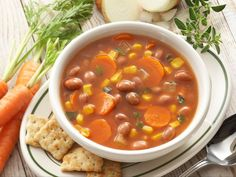 Learn how to make delicious Vegetable Bean Soup. Paleo Soup, Vegetarian Soup, Healthy Soup, Vegetarian Recipes, Healthy Eating, Healthy Recipes, Bean Recipes, Soup Recipes, Soups