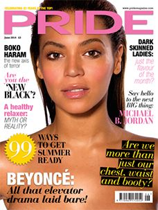 Beyonce on the cover of Pride magazine.
