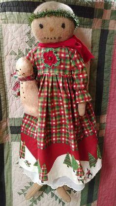 Primitive Snowgirl doll Snowman Winter Christmas by MeNtheGirls
