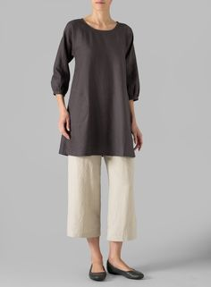 PLUS Clothing - Linen Elbow Sleeve Tunic