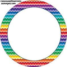 Arco Íris Cores Fortes - Kit Completo com molduras para convites, rótulos para…