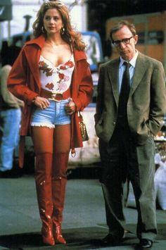 Mira Sorvino and Woody Allen on the set of Mighty Aphrodite, 1995 Mira Sorvino, Woody Allen, Martin Scorsese, Stanley Kubrick, Alfred Hitchcock, Fritz Lang, Beautiful Female Celebrities, Great Films, Voluptuous Women