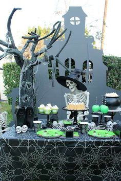 Loving this fun creepy Skeleton Halloween Party!! The dessert table is awesome!! See more party ideas and share yours at CatchMyParty.com #halloween #desserttable