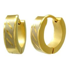 Stainless Steel Gold Huggie Earrings for Men and Women Beautiful Silver Jewelry. $21.95. Diagonal Design. Arrives in Silver Gift Box with Silver Bow. Super Comfortable Earrings. Quality Stainless Steel Gold Huggie Earrings. For Men and Women