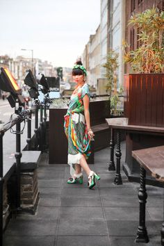 Susie Bubble in Rachel Comey dress, Comme des Garcons sequinned sleeve, Minju Kim x Acrobat shoes, Lucy Folk jewellery, Peaches and Cream earrings and a ton of Hermès scarves