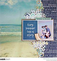 Kaisercraft Summer Stories Layout By Alicia McNamara Beach Scrapbook Layouts, Vacation Scrapbook, Scrapbook Sketches, Scrapbooking Layouts, Digital Scrapbooking, Scrapbook Journal, Scrapbook Pages, Bffs, Smash Book Pages