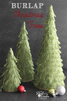 Darling Christmas crafts to make burlap Christmas trees. Perfect Christmas decorations