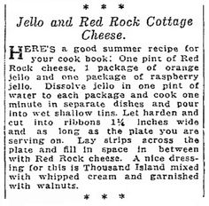 "Recipe published in the Seattle Daily Times newspaper (Seattle, Washington), 8 July 1923. Read more on the GenealogyBank blog: ""Scary Old Recipes from Your Family's Past."" http://blog.genealogybank.com/scary-old-recipes-from-your-familys-past.html"