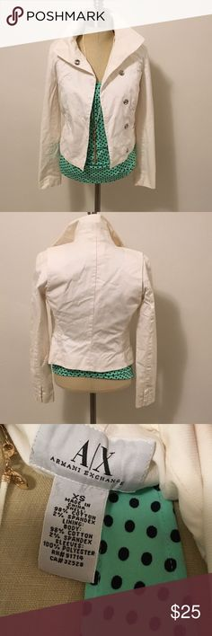 Armani Exchange white jacket Super stylish snap closed jacket. In excellent condition. Only one spot located inside of jacket that is unnoticeable while wearing. A/X Armani Exchange Jackets & Coats Jean Jackets