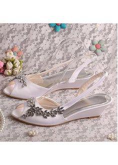 Attractive Satin Upper Peep Toe Wedge Heel Wedding Shoes Peep Toe Wedges, Wedge Heels, Stiletto Heels, Wedding Shoes Heels, Bridal Shoes, Wedding Store, Custom Shoes, Peeps, Fashion Shoes