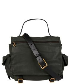 Green Riley Leather Satchel Bag, Jas MB