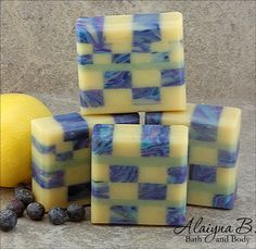 New - Blueberry Lemon Mosaic Soap. Now curing to be ready late June 2016. By Alaiyna B. Bath and Body.