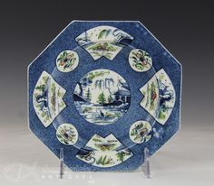 WONDERFUL ANTIQUE 18C 1st PERIOD WORCESTER OCTAGONAL DISH WITH CHINESE DESIGN underside is decorated with vines around the rim and a mark in the center meant to imitate early Chinese marks. It measures 6.75 inches across and is in very good condition with no damage.   Provenance: St. Louis Art Museum  £580  USA  BIN