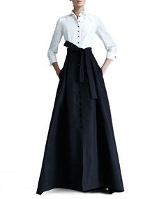 Taffeta Gown shirt with buttons a different color………color of skirt