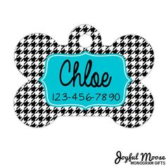 Dog Tags for Dogs - Houndstooth Dog Tags for Dogs - Turquoise Dog Tags for Dogs