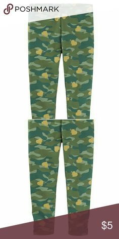 Mix KitCamo Print Leggings She'll make a bold statement in these camo print leggings. Pair with a matching tunic for super style.  Covered elastic waistband Lots of stretch Screen-print, metallic & foil camo  93% cotton, 7% elastane Imported Machine washable Osh Kosh Bottoms Leggings
