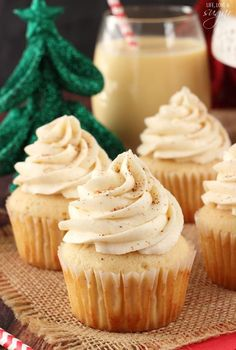 Eggnog Cupcakes - moist, delicious and full of eggnog! #cupcakes #cupcakes #cupcakeideas #cupcakerecipes #food #yummy #sweet #delicious #cupcake