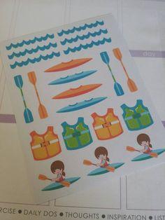 Kayaking Stickers! Perfect for your Erin Condren Life Planner, calendar, Paper Plum, Filofax!
