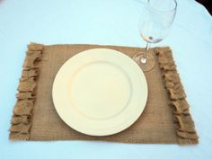 Burlap Placemats  Set of 4 by theruffleddaisy on Etsy, $32.00