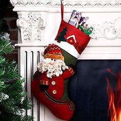 "Personalized Christmas Santa Claus Stocking 18"" Luxury Xmas Gift Bag Multicolor #easy_shopping08 Xmas Gifts, Christmas Stockings, Santa, Luxury, Holiday Decor, Bags, Needlepoint Christmas Stockings, Handbags, Christmas Presents"