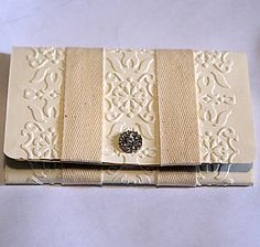 Gorgeous Embossed Wedding Card/Money Holder...with button bling.