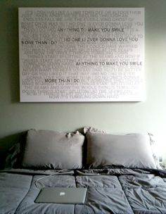 """Can you imagine this: Take a love note or song from when you and your spouse were dating - and then put on canvas like this - it would make a fantastic """"headboard"""" for your bedroom! Geezees.com"""