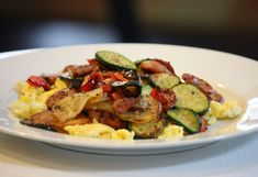 Sausage, Peppers, Potatoes, Zucchini Skillet Meal (Breakfast with an Egg) or Dinner as a dish! Easy -less than 30 minutes! Gluten Free, Low FODMAPS, Paleo, (Tested)
